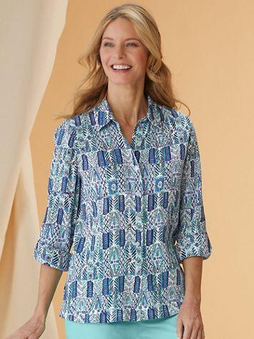 Batik Block Crinkle-Cotton Shirt - Image 1 of 7