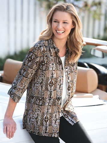 Batik Block Crinkle-Cotton Shirt