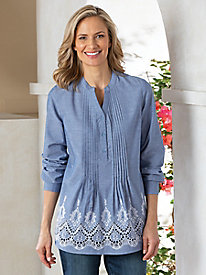 Chambray Embroidered Popover Top