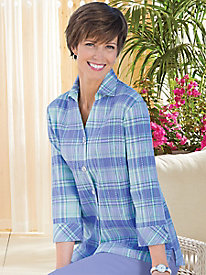 Perfect Plaid Crinkle 3/4-Sleeve Shirt