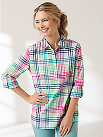 Mojave Crinkle Multi Plaid Popover Top
