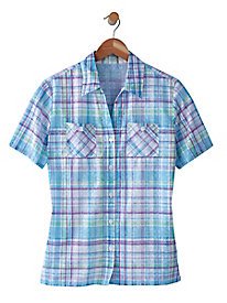 Alfred Dunner Burnout Plaid Camp Shirt