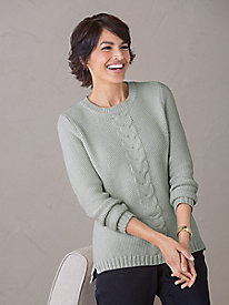 Button-Back Cable Sweater
