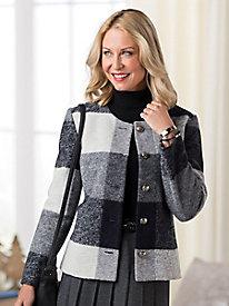 Plaid Boiled-Wool Jacket