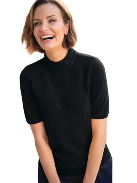 Spindrift Zip-Back Elbow-Sleeve Mockneck Sweaters