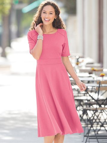 Ponte Elbow-Sleeve Dress - Image 1 of 4
