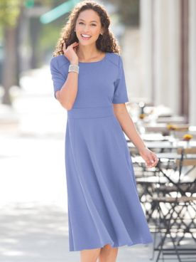 Ponte Elbow-Sleeve Dress