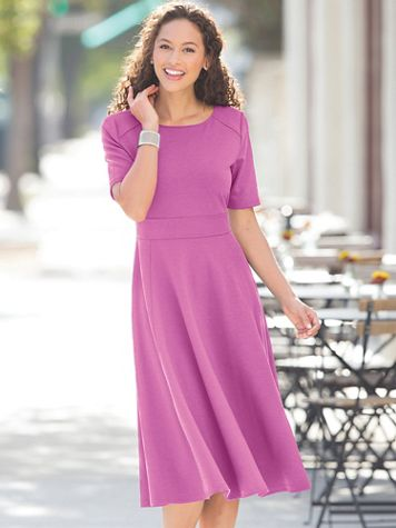 Ponte Elbow-Sleeve Dress - Image 4 of 4