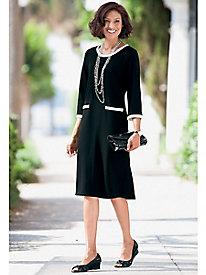 Contrast-Trim Ponte Dress