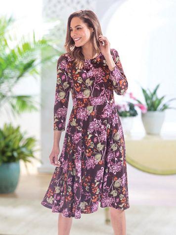 Print Seamed Ponte Dress - Image 1 of 2