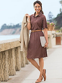 Button-Front Dot-Print Dress