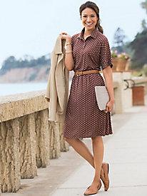 Button-Front Dot-Print Dress