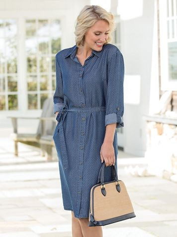 Tencel Denim Dot-Print Shirtdress