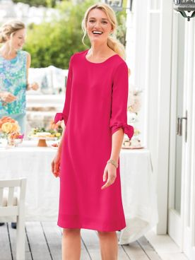 Tie-Sleeve Crepe Dress