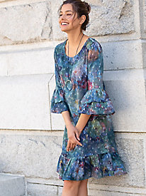 Abstract Floral Ruffle Sleeve Dress