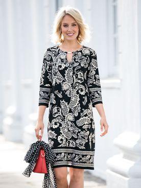 Border Print Jersey Dress