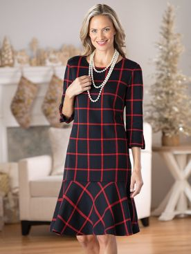 Flounce Hem Windowpane Dress