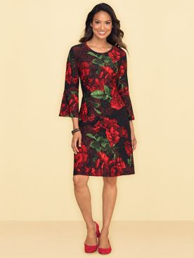 Rose Print Flouce Sleeve Dress