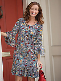 Paisely Floral Ruffle Sleeve Dress