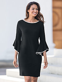 Tipped Flare Sleeve Dress