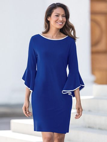Tipped Flare Sleeve Dress - Image 1 of 1