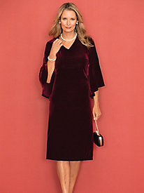 Velvet Flare Sleeve Dress