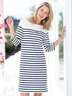 Nautical Stripe Cotton Knit Dress