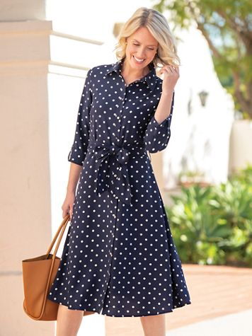 Dot Print Belted Crepe Shirtdress - Image 1 of 5