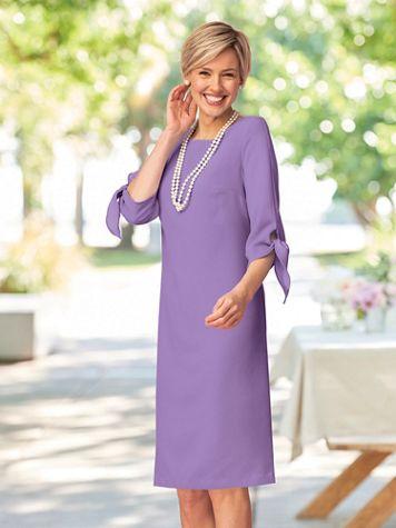 Tie Sleeve Pebble Crepe Dress - Image 1 of 7