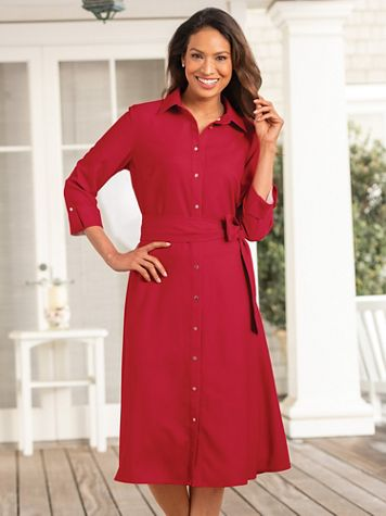 Crepe Belted Shirtdress - Image 1 of 4