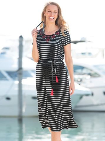 Embroidered Striped Maxi Dress - Image 1 of 3
