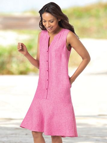 Linen Flounce Hem Sleeveless Dress - Image 1 of 5