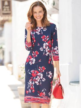 Floral Border Print Dress