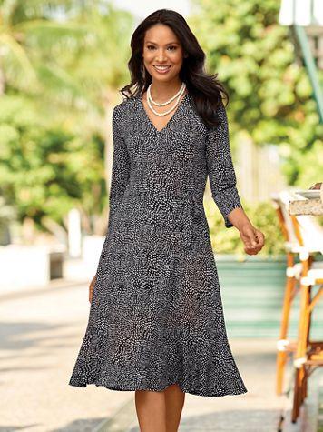 Geo Print Faux Wrap Dress - Image 2 of 2