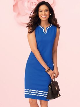 Ponte Lace Crochet Trim Dress