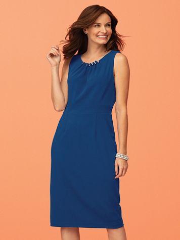 Pleated Ponte Sheath Dress