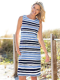 Stripe Print Knit Shift Dress