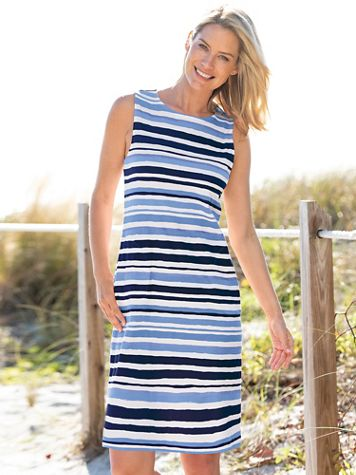Stripe Print Knit Shift Dress - Image 1 of 5
