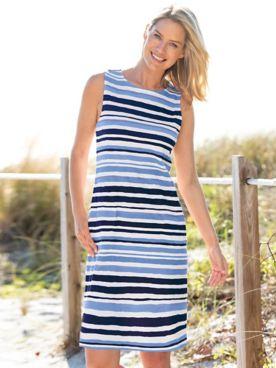 Stripe Print Knit Shift Dress