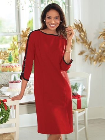 Button-Sleeve Ponte Sheath Dress - Image 1 of 5