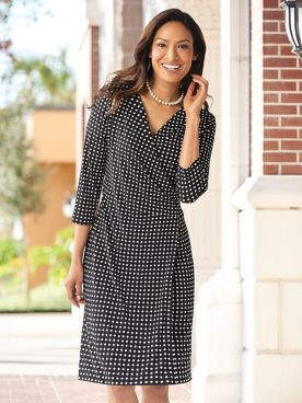 Dot Print Faux-Wrap Dress