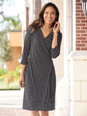 Dot Print Faux-Wrap Dress - Image 3 of 3