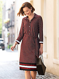 Geo-Print Border Shirt Dress