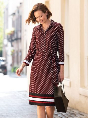 Geo-Print Border Shirt Dress - Image 3 of 3