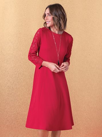 Lace-Trim Ponte Knit Dress - Image 1 of 4