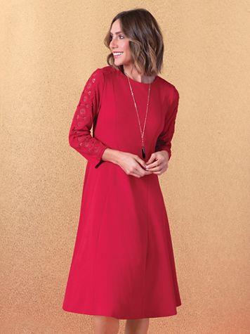 Lace-Trim Ponte Knit Dress - Image 5 of 5