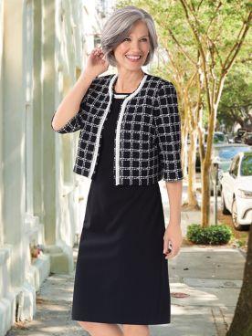 Pearl Trim Plaid Jacket Dress