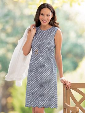 Scallop Print Shift Dress