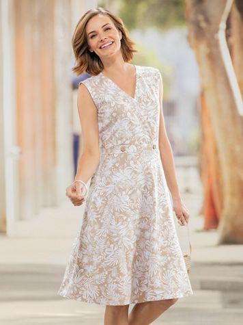 Palm Print Sleeveless Faux-Wrap Dress