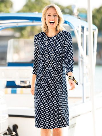 Lattice-Print Shift Dress